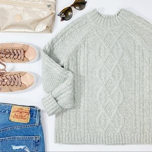 A&F Cable Knit Mock Neck Cropped Sweater Gray